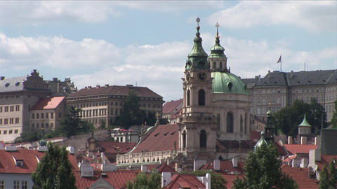 View of St Nicholas Cathedral in Prague Czech Repu Footage
