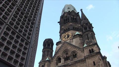 Kaiser Wilhelm Memorial Church in Berlin Germany Footage
