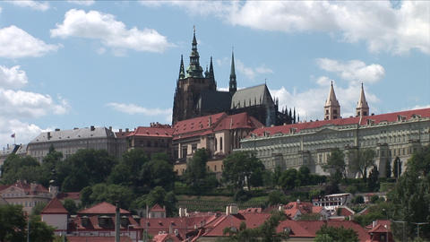 Prague Castle and St Vitus Cathedral in Prague Cze Footage