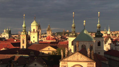 View of monuments in Prague Czech Republic Footage