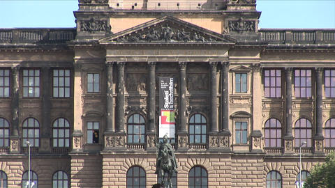 Close view of National museum in Prague Czech Repu Stock Video Footage