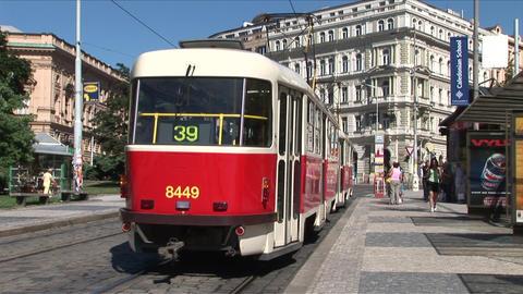 View of a Tram stop in Prague Czech Republic Footage