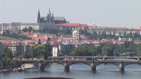 Vltava River and Prague Castle in Prague Czech Rep Footage