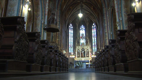 Interior view of a church in Prague Czech Republic Footage