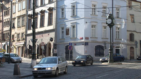 View of a Street Clock in City Street of Prague Cz Live Action