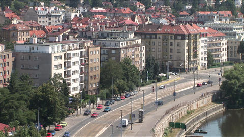 Top view of Vltava River and City Street in Prague Live Action