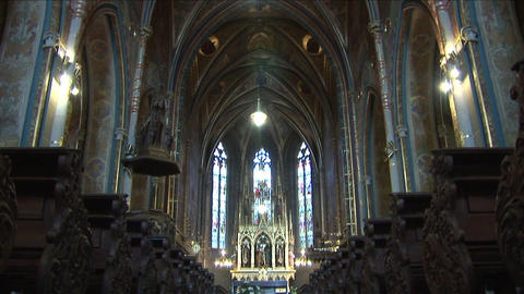 Interior View Of A Church In Prague Czech Republic stock footage