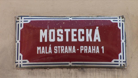 View of a signboard in Prague Czech Republic Footage