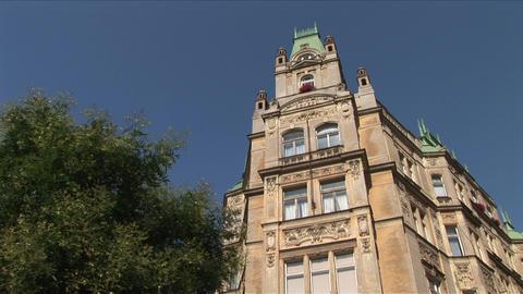 View of a building in Prague Czech Republic Footage