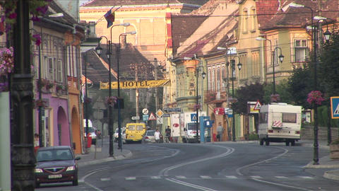 City Street In Sighisoara Transylvania Romania stock footage