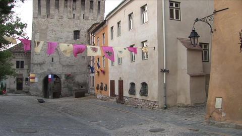 View of buildings in Sighisoara Transylvania Roman Footage