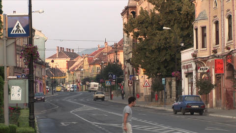 View of a Blvd in Sighisoara Transylvania Romania Footage