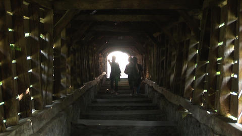 People walking on the wooden way Sighisoara Transy Footage