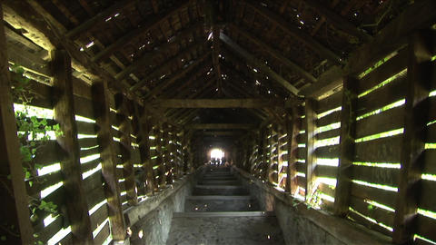 Wooden Walkway Sighisoara Transylvania Romania stock footage