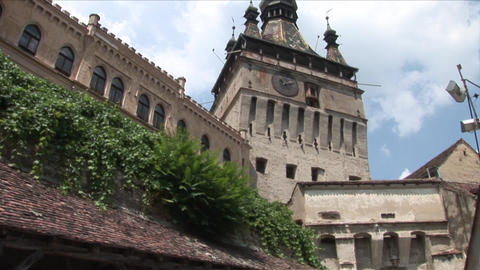 Old Clock Tower Sighisoara Transylvania Romania Footage