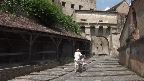 Old Clock Tower Sighisoara Transylvania Romania stock footage