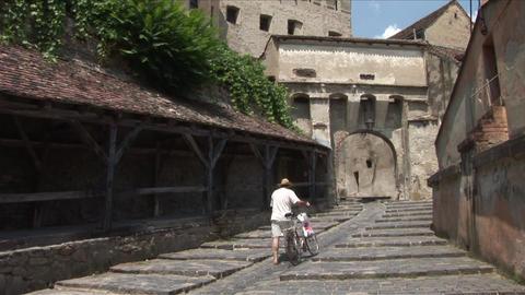 Old Clock Tower Sighisoara Transylvania Romania Footage