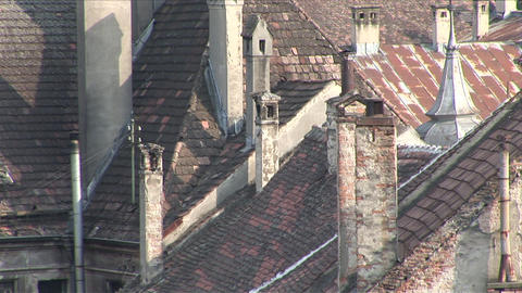 Close view of old buildings tiled roof top Sighiso Footage