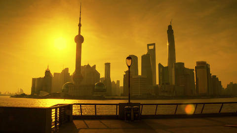 Sunrise In Shanghai Hyperlapse stock footage