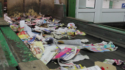 Wastepaper at conveyor line - recycling center 2 Live Action