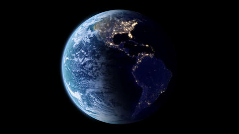 Slowly rotating Earth with night lights Animation