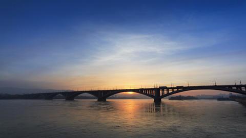 Sunset Behind the Bridge Footage