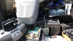Electronic junk. Electronic waste collection point Footage