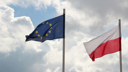 Flag of Poland and European Union Live Action