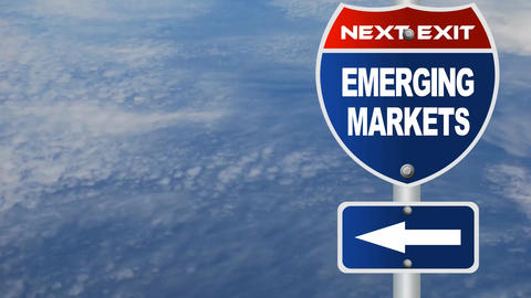 Emerging Markets Road Sign stock footage