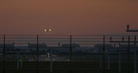 Airport Nuremberg Landing Plane Late 4 K Cine D Footage