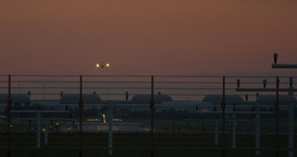 Airport Nuremberg Landing Plane Late 4 K Cine D stock footage