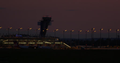 Airport Nuremberg Tower At Night 4 K Cine D stock footage