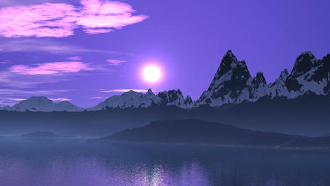 Purple sunset in the mountains Animation