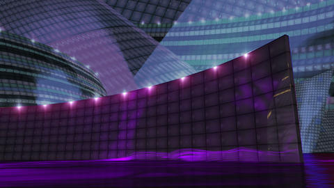 Disco virtual set stage purple, Stock Animation