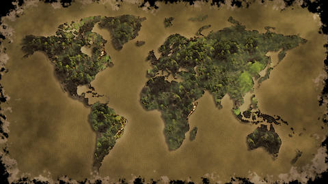 Vintage World Map Burn Black Screen stock footage