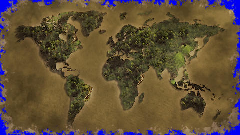 vintage world map burn blue screen Animation