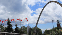 Exhibition Place Arch and Wind Turbine Footage