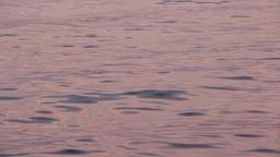 Sea surface, calm waves, purple sky reflection Footage