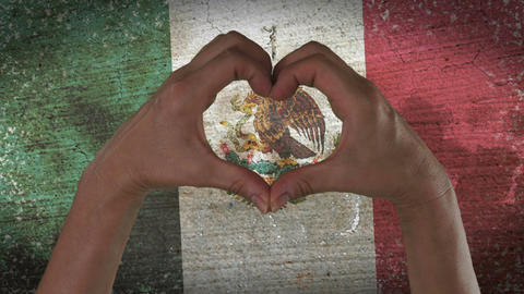 Hands Heart Symbol Mexico Flag Footage
