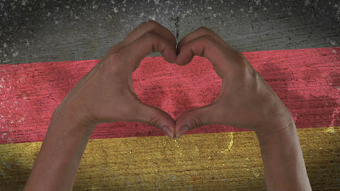 Hands Heart Symbol German Flag Footage