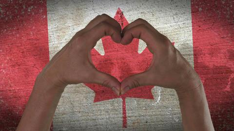 Hands Heart Symbol Canadian Flag Footage