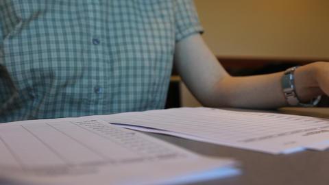 College student reading homework Footage