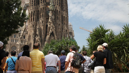 Sagrada Familia Temple. Barcelona City Footage