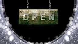 open sign hanging on chain Animation