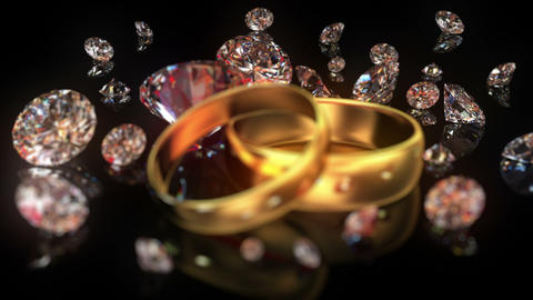 Wedding rings and diamonds Animation