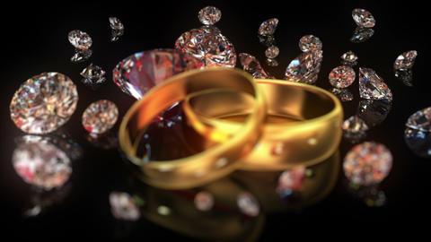 Wedding rings and diamonds Animation