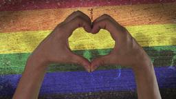 Hands Heart Symbol LGBT Pride Footage