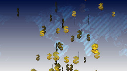 Dollar Sign On World Map stock footage