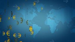euro dollar on world map Animation