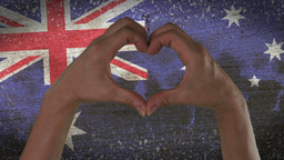 Hands Heart Symbol Australian Flag Footage